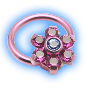 Jewelled flower Titanium Ball closure ring
