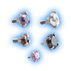 Claw set gem for internally threaded titanium piercing jewellery
