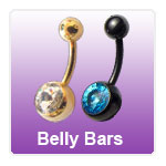 Belly bars and belly rings for belly button piercings