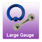 Large gauge piercing jewellery - PA Bars, rings, barbells and horseshoes