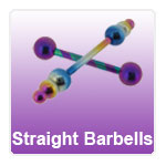 Straight Barbells for piercings in steel, titanium and gold plated finishes