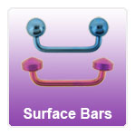 Surface bars for skin piercing - barbells with 90 degree bends
