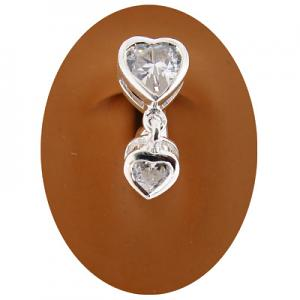 Clipbitz Fake Belly Ring - Clear Heart Duo - CB21