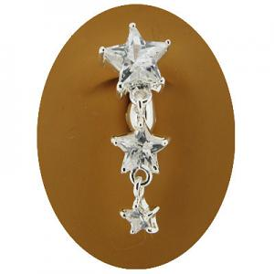 Clear Star Trio Clip on Belly Ring