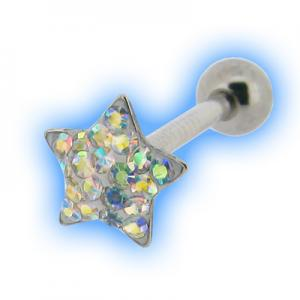 Tongue Bar with Multi Jewelled Star Crystal AB