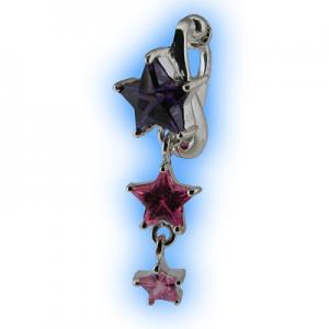 Purple and Pink Star Cascade fake belly ring
