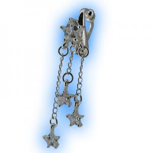 Clear Star Cascade fake belly ring