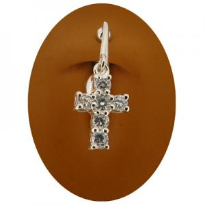 Clear Cross Dangle Non piercing belly ring
