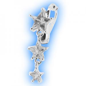 Clear Star Cascade clip on belly ring