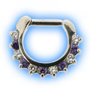 Lilac and Clear Petal Gem Septum Clicker