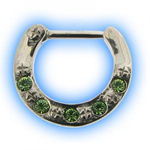 Green 5 Gem Swarowski Jewelled Septum Clicker
