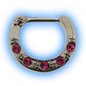Pink 5 Gem Swarowski Jewelled Septum Clicker