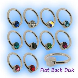 1.2mm Steel Flat backed clip in disc for body piercing BCR closure rings