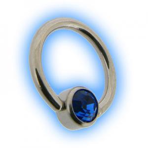 Steel Flat Back Ball Closure Ring BCR - Sapphire