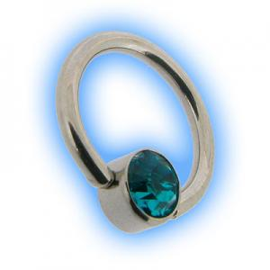 Steel Flat Back Ball Closure Ring BCR - Blue Zircon