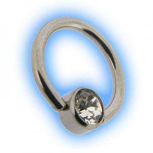 Steel Flat Back Ball Closure Ring BCR - Clear