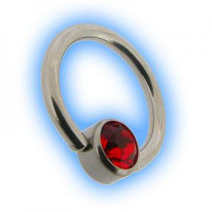Steel Flat Back Ball Closure Ring BCR - Siam Red