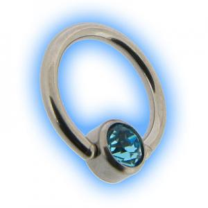 1mm Steel Flat Back Ball Closure Ring BCR - Aqua