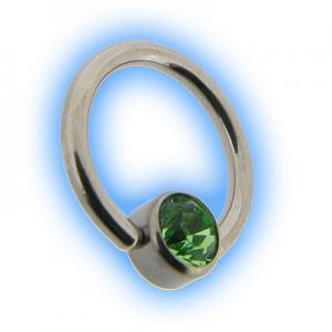 1mm Steel Flat Back Ball Closure Ring BCR - Peridot