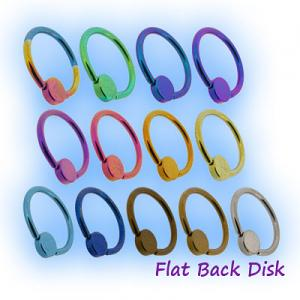 Flat backed clip in disc for body piercing BCR closure rings