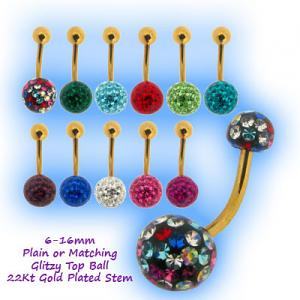 Glitzy Ball Belly Bar With Gold Plated Stem