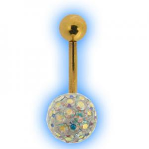 Glitzy Ball Belly Bar With Gold Plated Stem - AB
