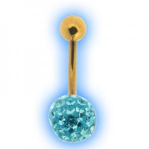 Glitzy Ball Belly Bar With Gold Plated Stem - Aqua