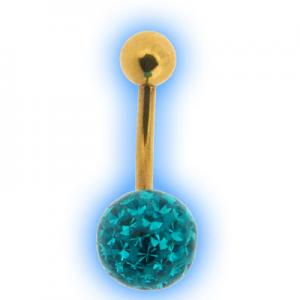 Glitzy Ball Belly Bar With Gold Plated Stem - Blue Zircon