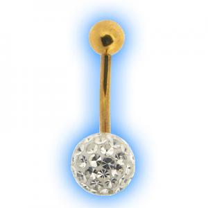 Glitzy Ball Belly Bar With Gold Plated Stem - Clear