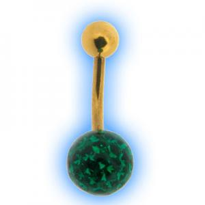 Glitzy Ball Belly Bar With Gold Plated Stem - Dark Green