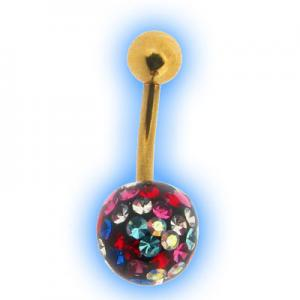 Glitzy Ball Belly Bar With Gold Plated Stem - Multi