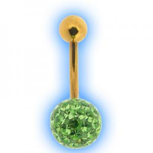 Glitzy Ball Belly Bar With Gold Plated Stem - Light Green