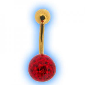 Glitzy Ball Belly Bar With Gold Plated Stem - Red