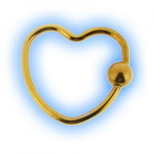 Gold Plated Heart BCR Ring