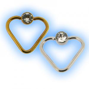 Flat Back Jewelled Heart BCR Ring