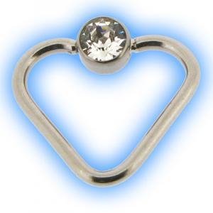 Flat Back Jewelled Heart BCR Ring - Steel