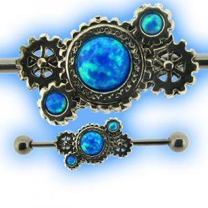 Steampunk Industrial Barbell for Scaffold Piercing Opal Gem