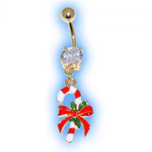 Gold Plated Candy Cane Christmas Belly Bar