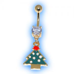 Gold Plated Green Christmas Tree Belly Bar