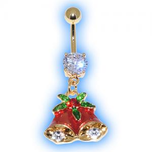 Gold Plated Red Bells Christmas Belly Bar