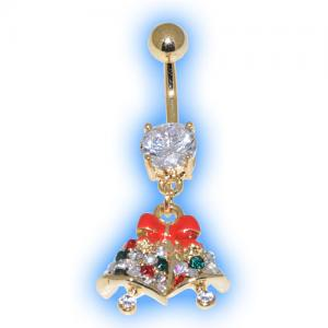 Gold Plated Jewelled Bells Christmas Belly Bar