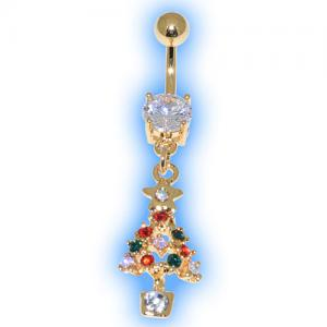Gold Plated Jewelled Christmas Tree Belly Bar