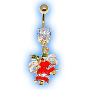 Gold Plated Holly Bells Christmas Belly Bar