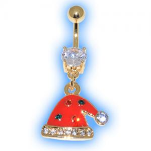 Gold Plated Red Hat Christmas Belly Bar