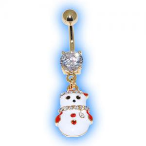 Gold Plated Tinsel Snowman Belly Bar