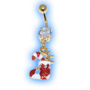 Gold Plated Stocking Christmas Belly Bar