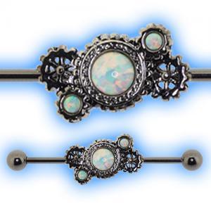 Steampunk Industrial Barbell for Scaffold Piercing White Opal Gem