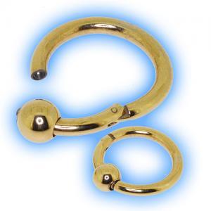 22k Gold Plated Hinged Ball Closure Ring