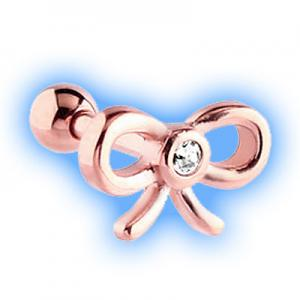 Rose Gold Plated Clear Jewelled Bow Tragus Stud