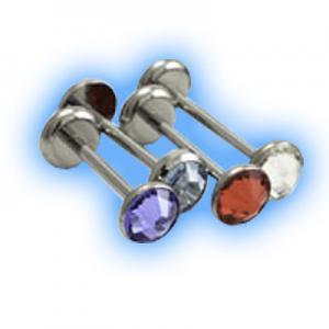 Double gem disc internally threaded Titanium barbell